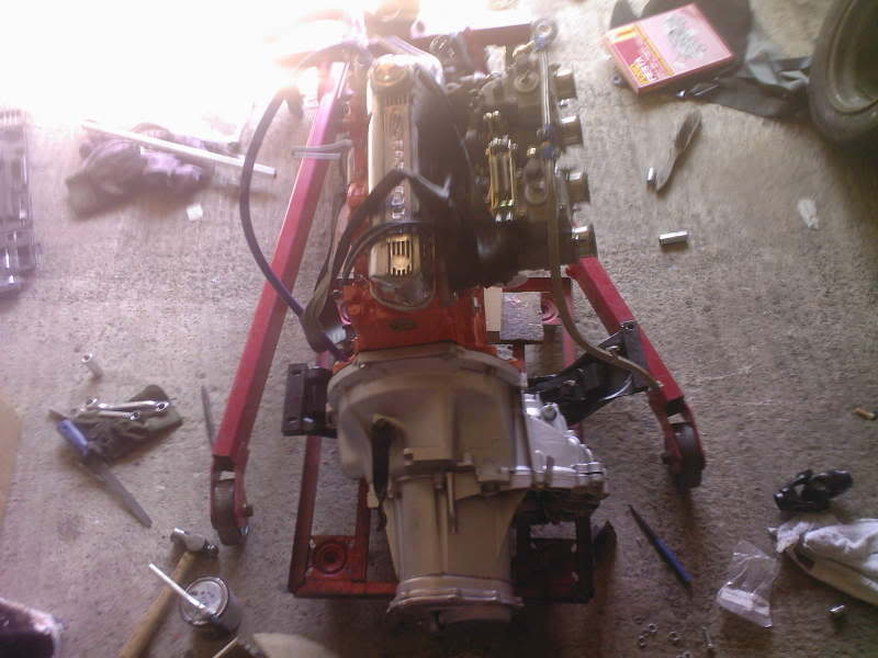 Crossflow engine with BC gearbox