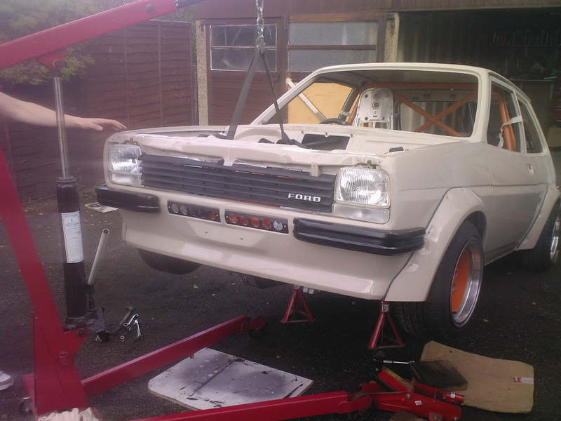 Mk1 Fiesta lifted on an engine crane