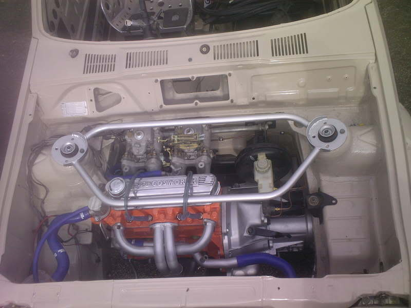 Fiesta engine bay with X-Flow engine