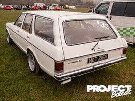 Ford Granada L in white at Squires Cafe