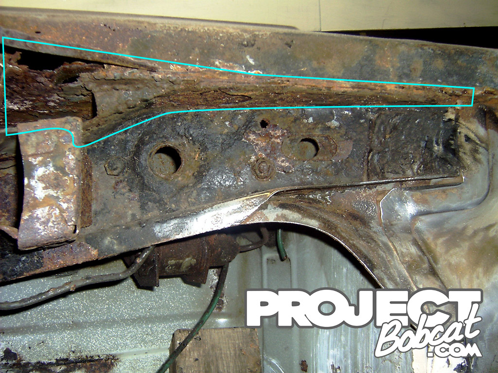 fiesta xr2 rear chassis rail rust
