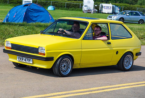 Yellow Ford Fiesta at Santa Pods Classic Ford Show 2016