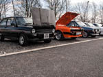Mk1 Fiestas with a orange Mk3 Ford Capri