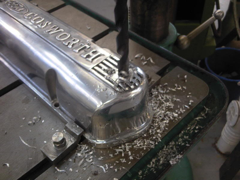 Drilling and tapping a Cosworth rocket cover