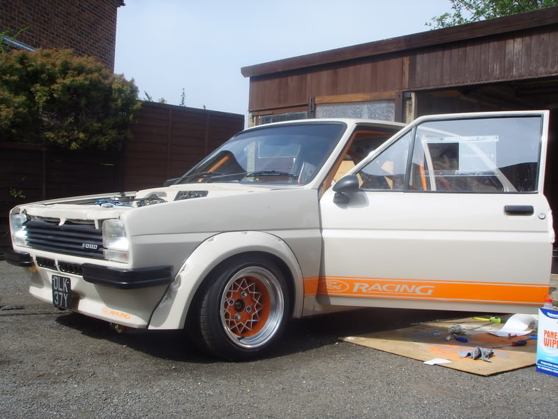 Mk1 Ford Fiesta with ornage ford racing stripes