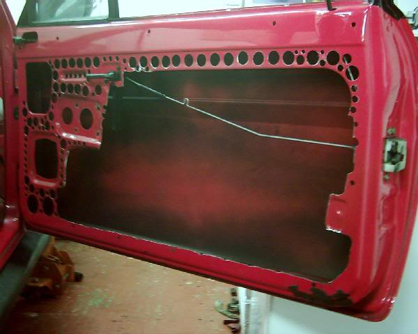 xr2 drivers door lightened with hole saw